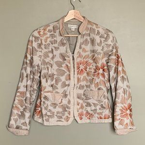 Coldwater Creek cream embroidered zipup jacket 14